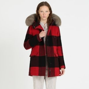 Woolrich Fox Fur Trim Buffalo Plaid Wool C…